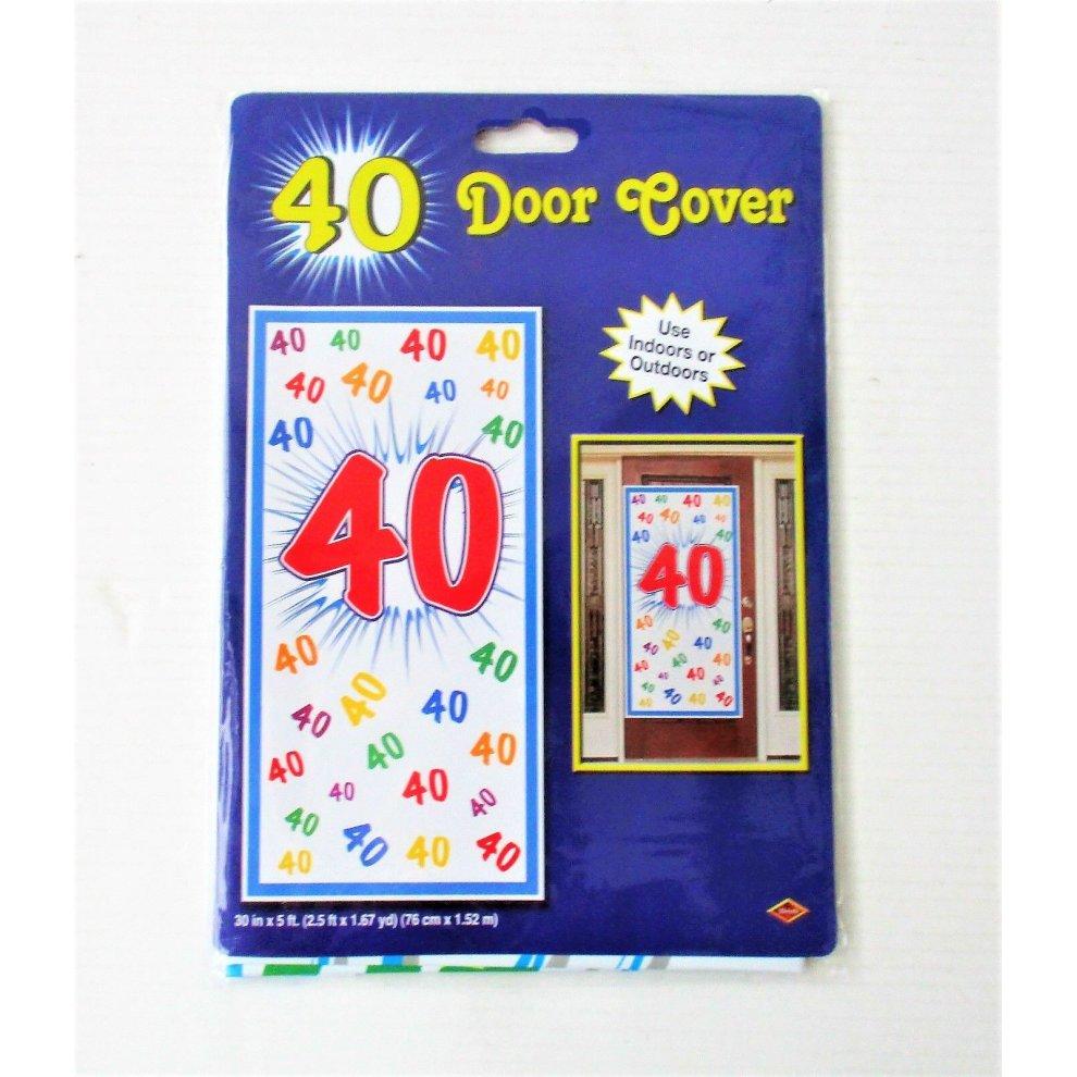 40th Celebration Plastic Door Cover 76 x 152cm 40 Birthday Party Decorations