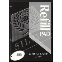 Silvine A4 Refill Pad Plain 80 Sheets - Pack Of 6 -  silvine refill pad a4 a4rpp plain pack exercise booksrefill pads made uk high quality choose