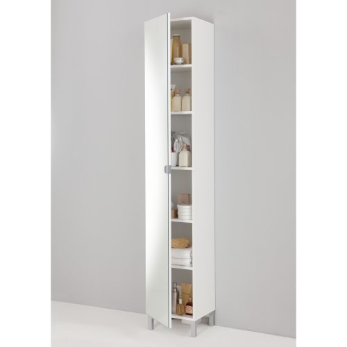 Tarragona White Bathroom Floor Cabinet Tall Mirrored Cupboard