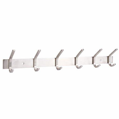 Hook Rack, Bedee Wall Mount Stainless Steel 6 Hooks Heavy Duty Door Hanger Rack Hat Holder for Coat Robe Clothes Towel