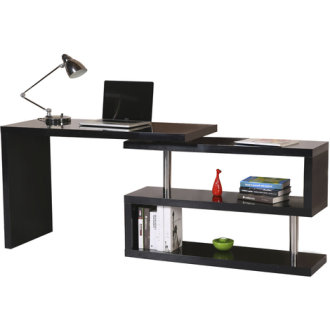 Homcom High Gloss Computer Desk | PC Desk & Shelves