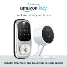 Amazon Key In-Home Kit includes: Amazon Cloud Cam (Key Edition) indoor security camera and compatible smart lock