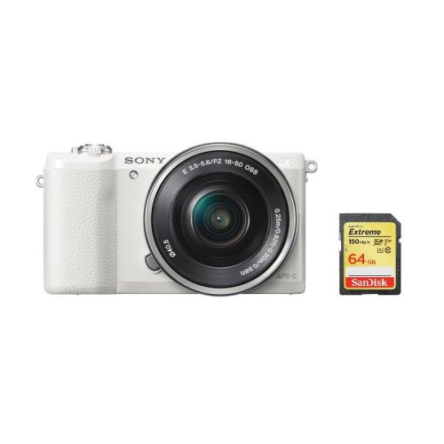 SONY A5100 White KIT SEL 16-50MM F3.5-5.6 OSS Silver + 64GB SD card