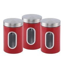 Red Set Of 3 Sq Professionals Stainless Steel Canisters With Window