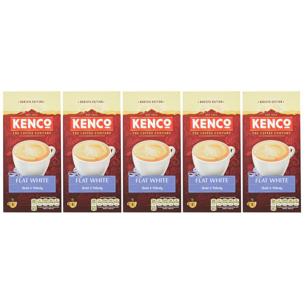 Kenco Flat White Instant Coffee Sachets Pack Of 5 40 Count