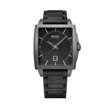 Hugo Boss 1513225 Mens Grey Silicone Rubber Band Black Dial Watch