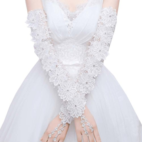 Bridal Wedding Gloves Party Dress Lace Long Gloves A09