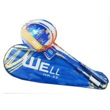 Set of 2 Badminton Rackets Aluminum Couple Racquets 3U(85-89g) Blue