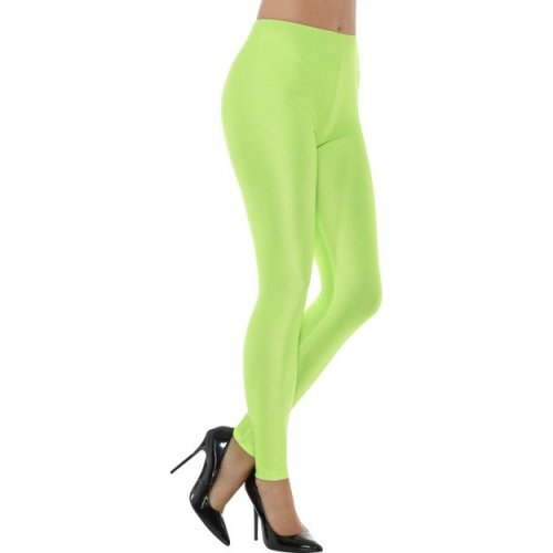 Smiffy's 48111l 80's Disco Spandex Legging (large) -  ladies 80s disco spandex leggings womens neon fancy dress costume adults groovy green uk 818
