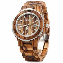Bewell Men's Zebrawood Watch - W100BG