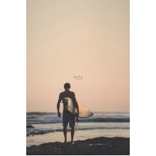 wall mural surfer with surfboard brown - 158847