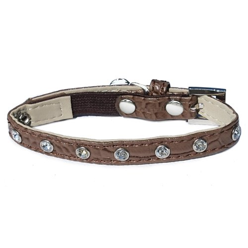 Catty Things Moc Croc Diamante Cat Collar Brown (Pack of 5)