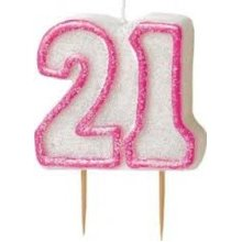 Age 21 Birthday Candle Pink Glitz