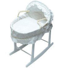 Broderie Anglaise Moses Basket With White Rocking Stand - White