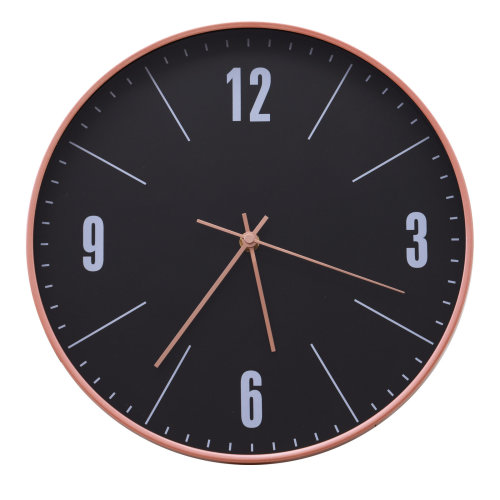 """HOMCOM Modern 12"""" Round Wall Clock Quartz Timer Battery Operated Large Numbers Easy to Read Quartz Analogue Home Office Bedroom Black"""
