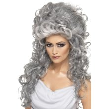 Smiffy's Women's Long And Curly Grey Beehive Wig, One Size, Medeia Witch