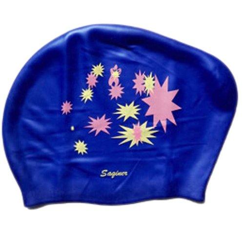 Beautiful Design Waterproof Premium Long Hair Swim Cap For Women Dark Blue