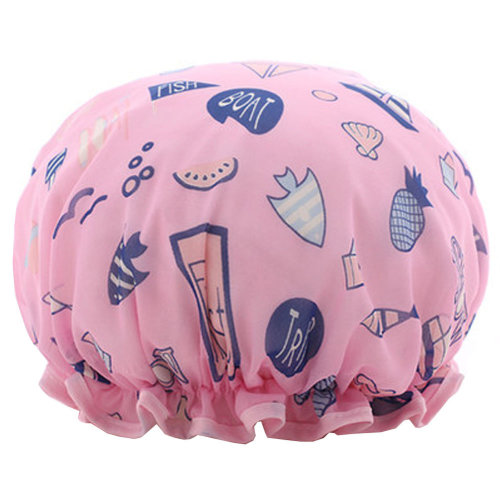 Womens Stylish Design Mold-resistant Shower Cap Double Layers Waterproof Bath Cap,B