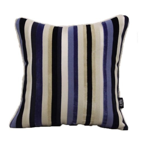 The High-End Modern Fringe Cut Velvet Sofa Cushion and Pillow--Blue